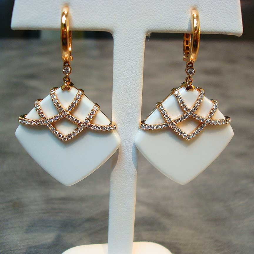 Joy-Den Jewelers - Custom Jewelry Design - Diamond Gold Ivory Earrings