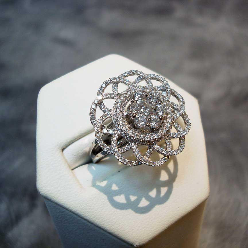 Joy-Den Jewelers - Custom Jewelry Design - Diamond Flower Ring