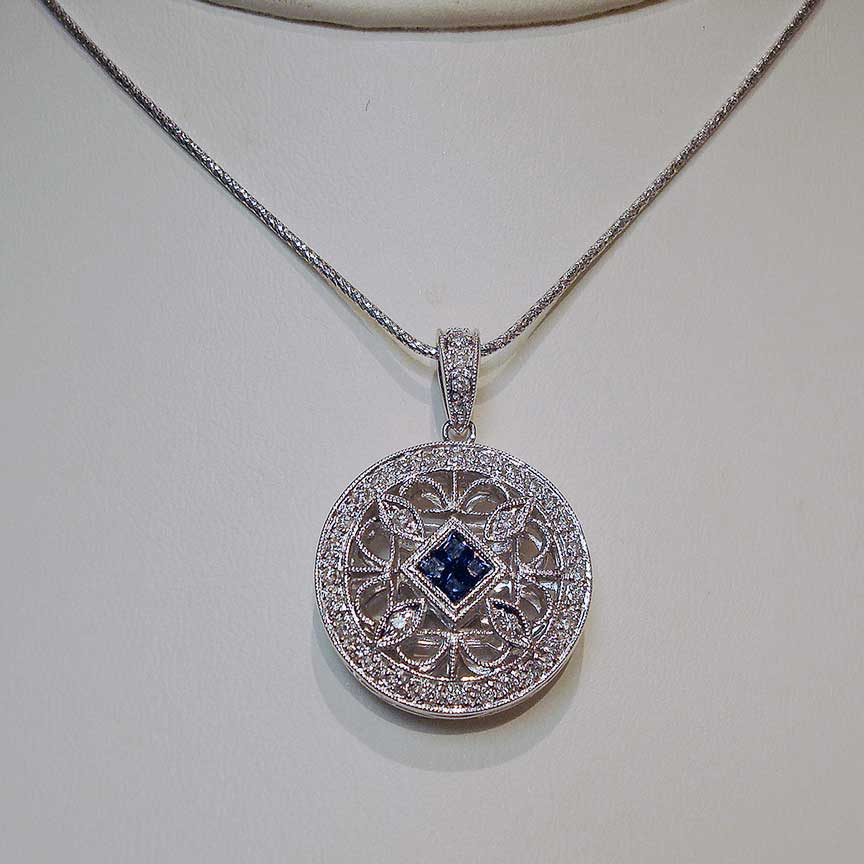 Joy-Den Jewelers - Custom Jewelry Design - Diamond Sapphire Necklace